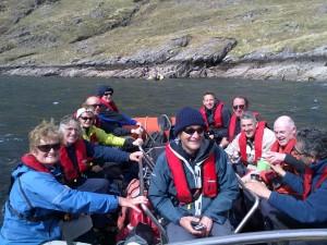 Walkers aboard the Marlin, after descending Maol Reidh