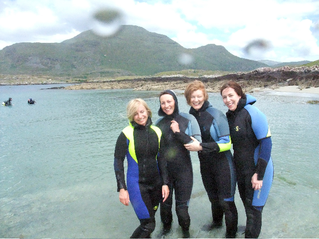 Breege, Fiona, Eva and Ann before their Discover Snorkelling on Saturday