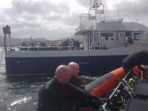 The 'Marlin' coming alongside the 'Brazen Hussy'