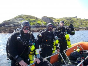 Michal, Paul and Cillian before jumping in at Inis Barna!