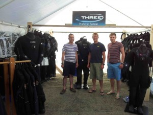 Marcus Darler (left) and Josh Baker (right) from O'Three with Cilian Gray, Scubadive West.