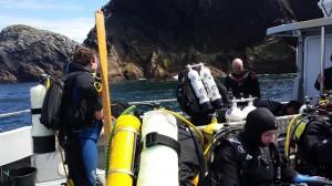 Preparing to dive at the Bills Rocks